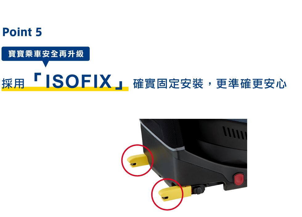 Point5 ISOFIXで確実に取り付けできるから安心